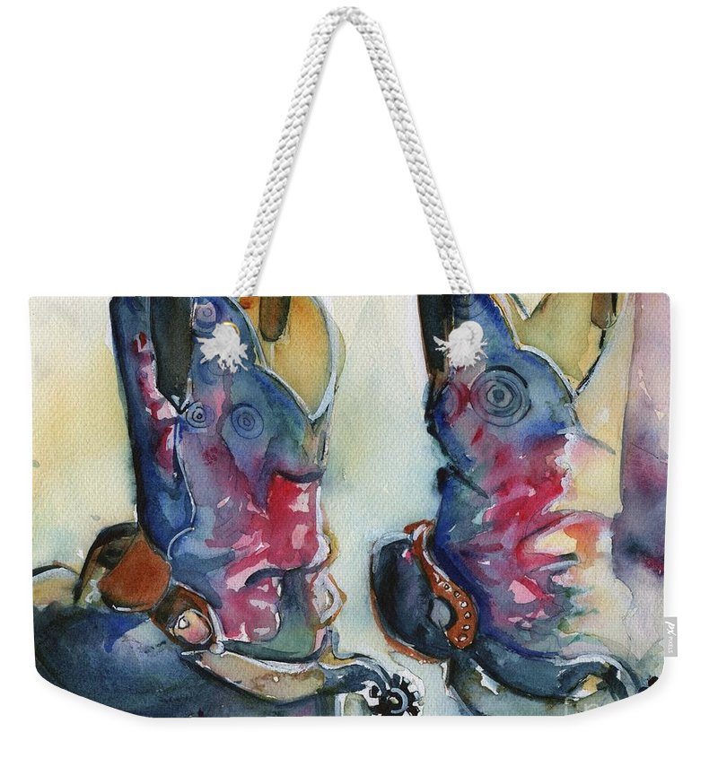 Cowboy Boots Weekender Tote Bag featuring the painting Cowboy Boots In Watercolor Good Ride by Maria's Watercolor