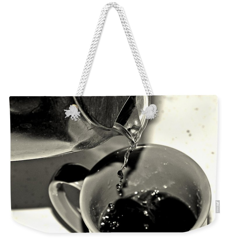 Coffee Weekender Tote Bag featuring the photograph Good To The Last Drop by Dan Sproul