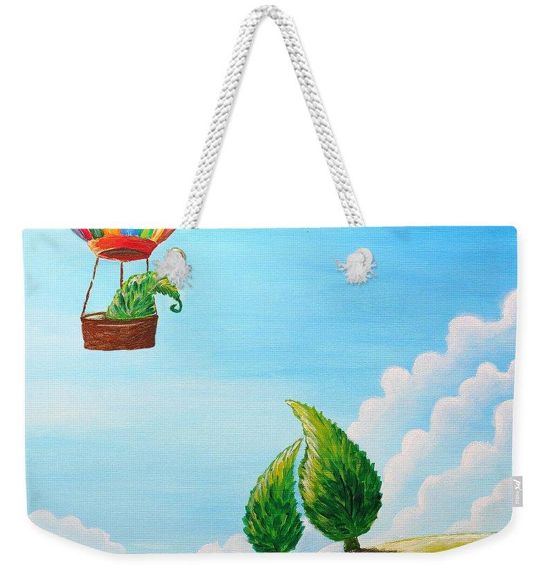 Painting Weekender Tote Bag featuring the painting Goodbye by Nirdesha Munasinghe