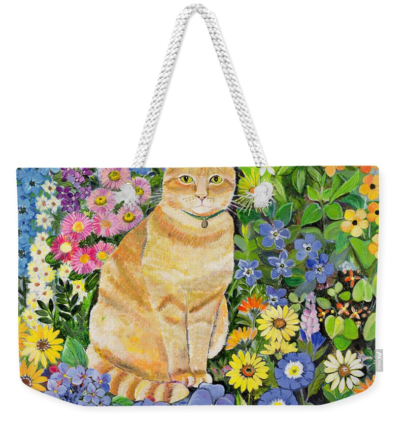 Pansy; Delphinium; Brown-eyed Susan; Lupin; Periwinkle; Ginger Tom Weekender Tote Bag featuring the painting Gordon S Cat by Hilary Jones