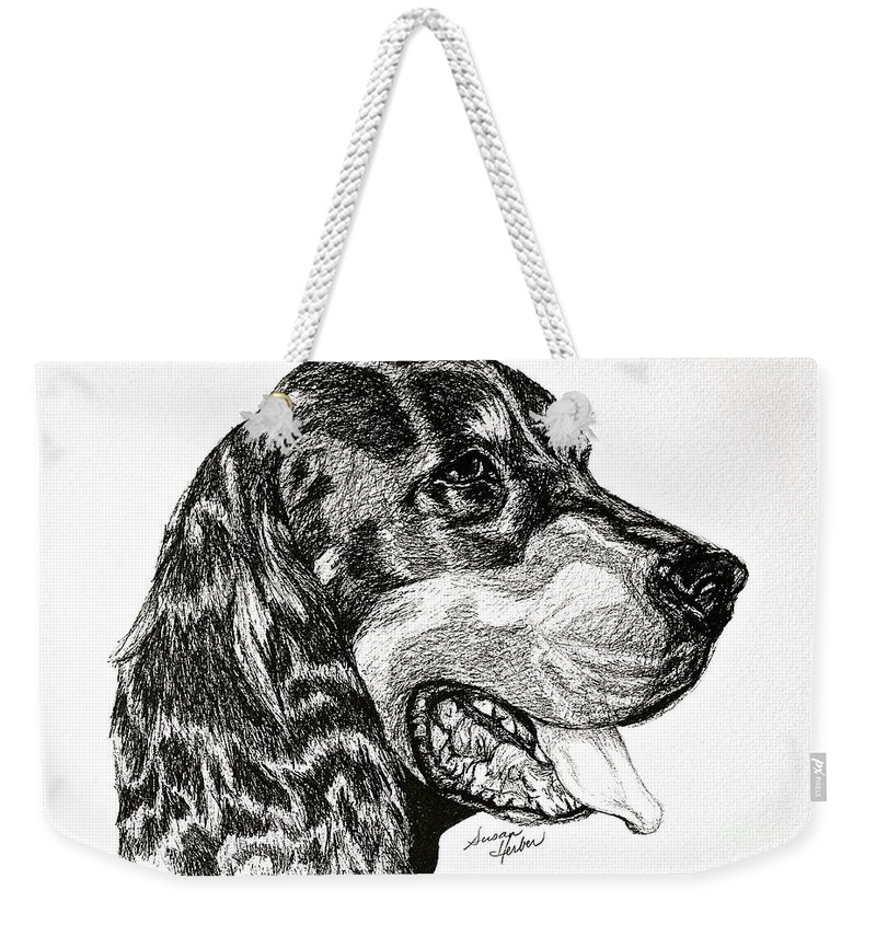 Dog Weekender Tote Bag featuring the drawing Gordon Setter by Susan Herber