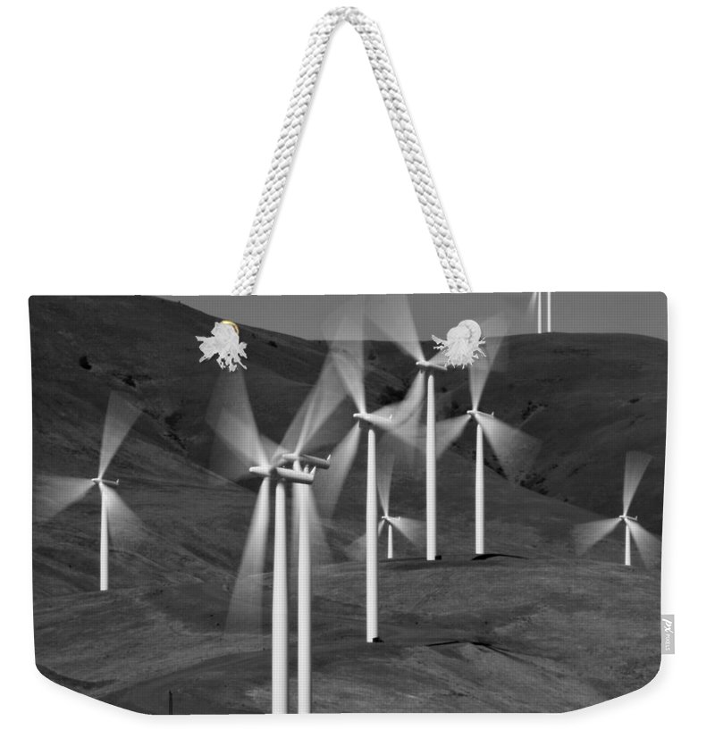 Gorge Windmills Bw Weekender Tote Bag featuring the photograph Gorge Windmills B W by Wes and Dotty Weber