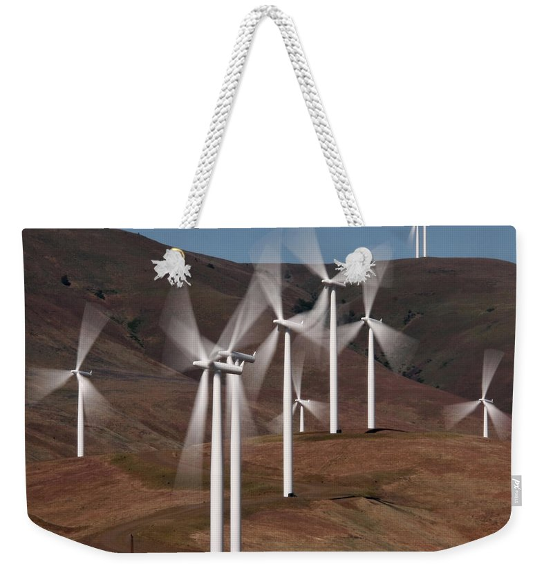 Gorge Windmills Weekender Tote Bag featuring the photograph Gorge Windmills by Wes and Dotty Weber