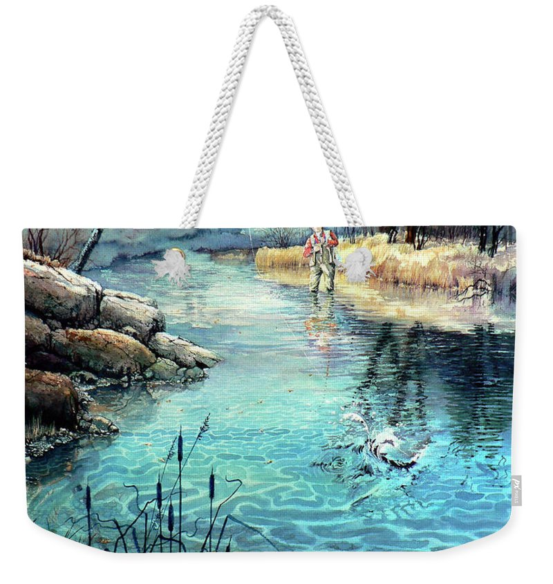 Fly Fishing Weekender Tote Bag featuring the painting Gotcha by Hanne Lore Koehler