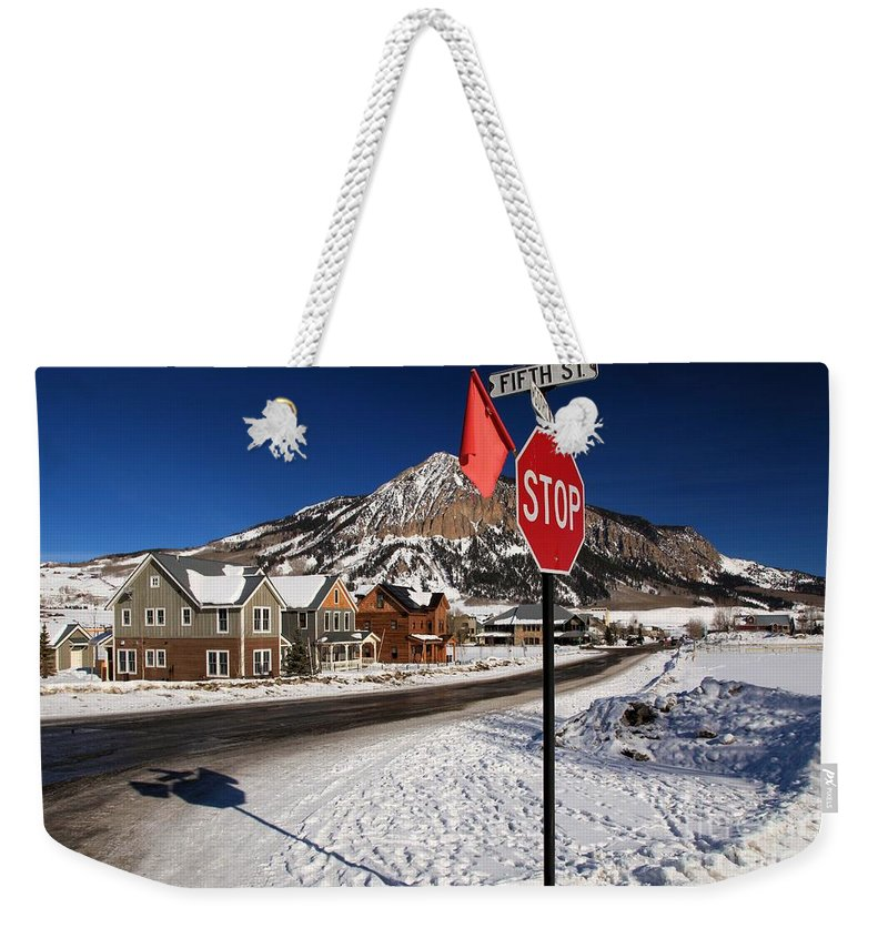 Fifth And Gothic Weekender Tote Bag featuring the photograph Gothic And Fifth by Adam Jewell