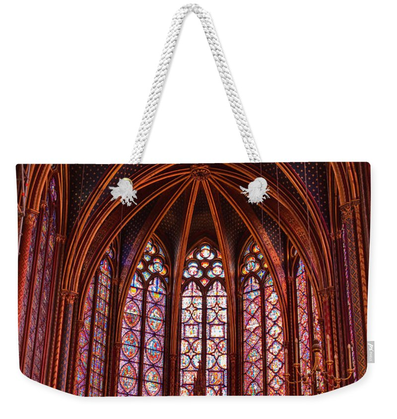 Gothic Style Weekender Tote Bag featuring the photograph Gothic Architecture Inside Sainte by Julian Elliott Photography
