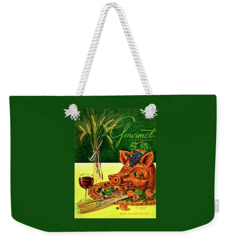 Illustration Weekender Tote Bag featuring the photograph Gourmet Cover Featuring A Pig's Head On A Platter by Henry Stahlhut