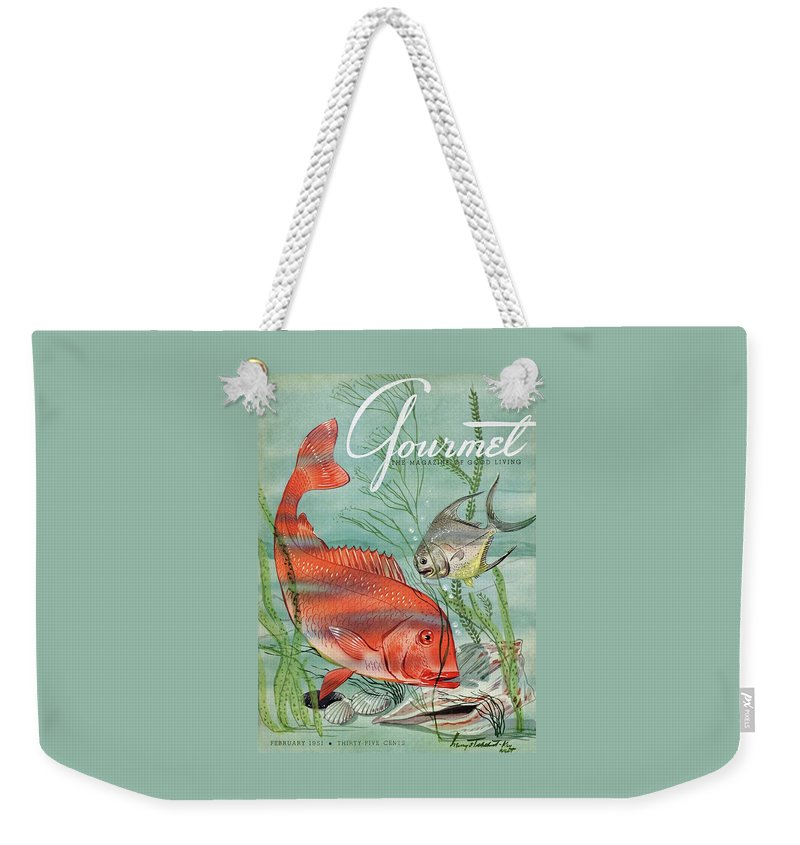 Illustration Weekender Tote Bag featuring the photograph Gourmet Cover Featuring A Snapper And Pompano by Henry Stahlhut