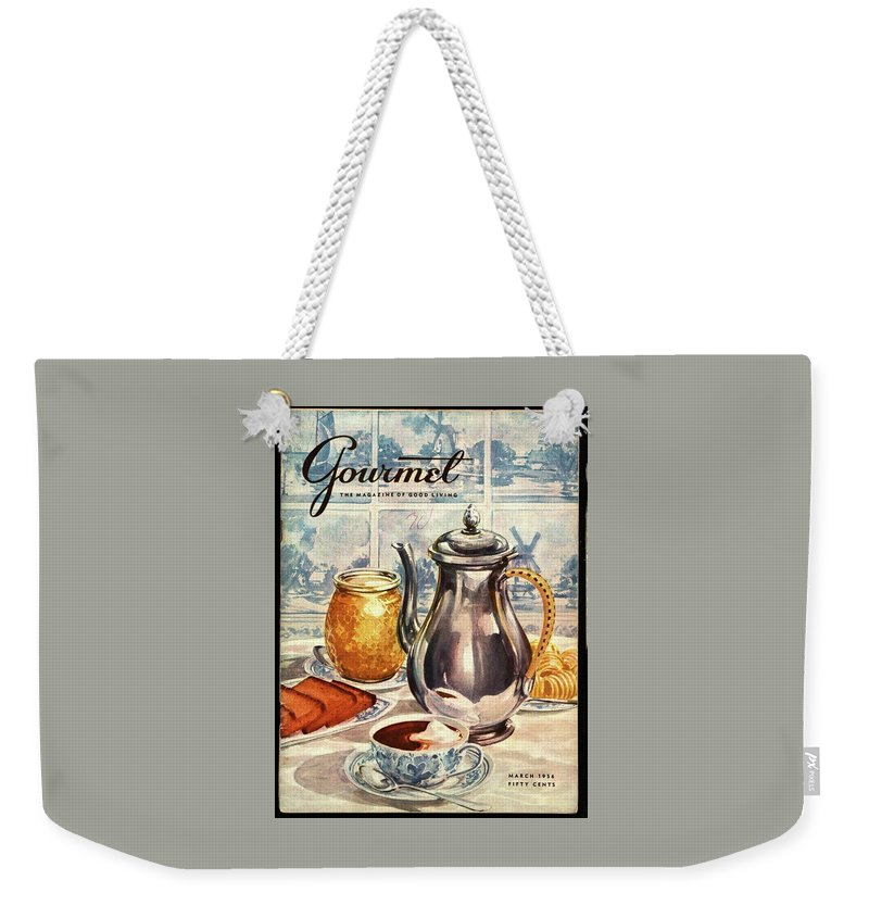 Illustration Weekender Tote Bag featuring the photograph Gourmet Cover Featuring An Illustration by Hilary Knight