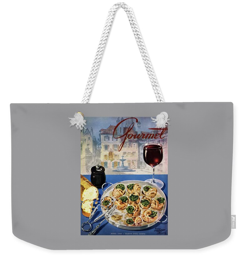 Food Weekender Tote Bag featuring the photograph Gourmet Cover Illustration Of A Platter by Henry Stahlhut