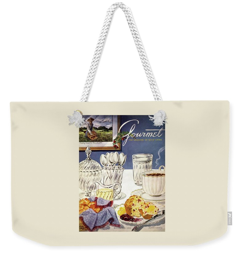 Food Weekender Tote Bag featuring the photograph Gourmet Cover Illustration Of Cranberry Muffins by Henry Stahlhut