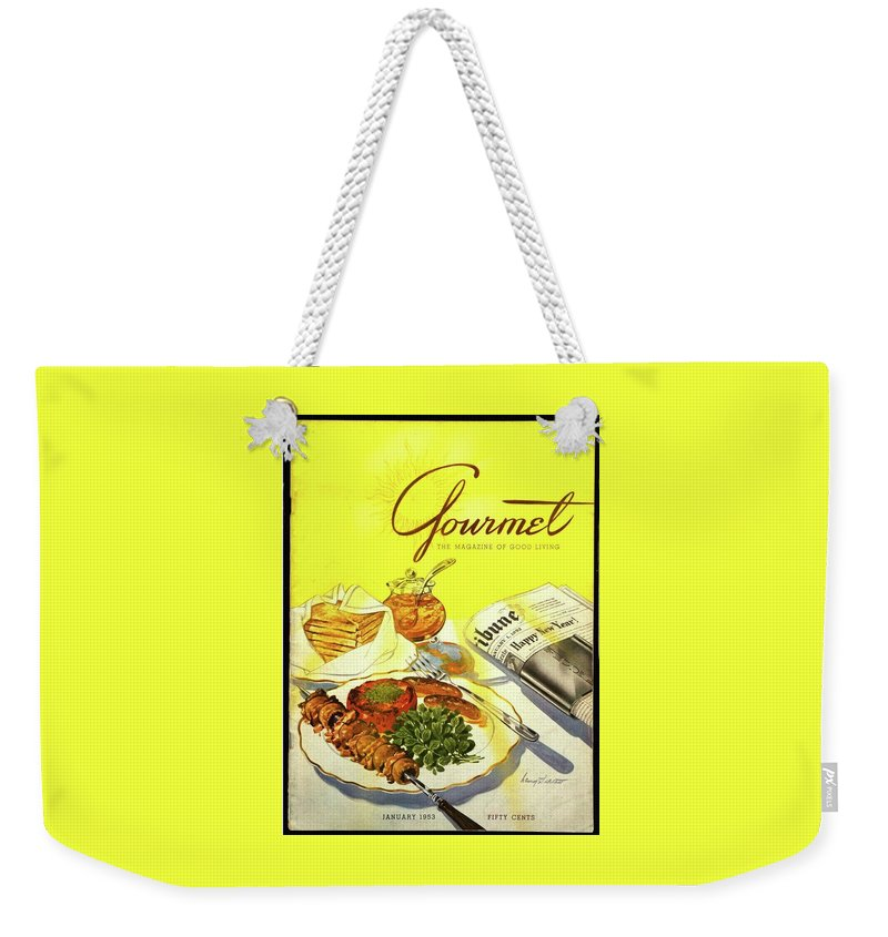 Illustration Weekender Tote Bag featuring the photograph Gourmet Cover Illustration Of Grilled Breakfast by Henry Stahlhut