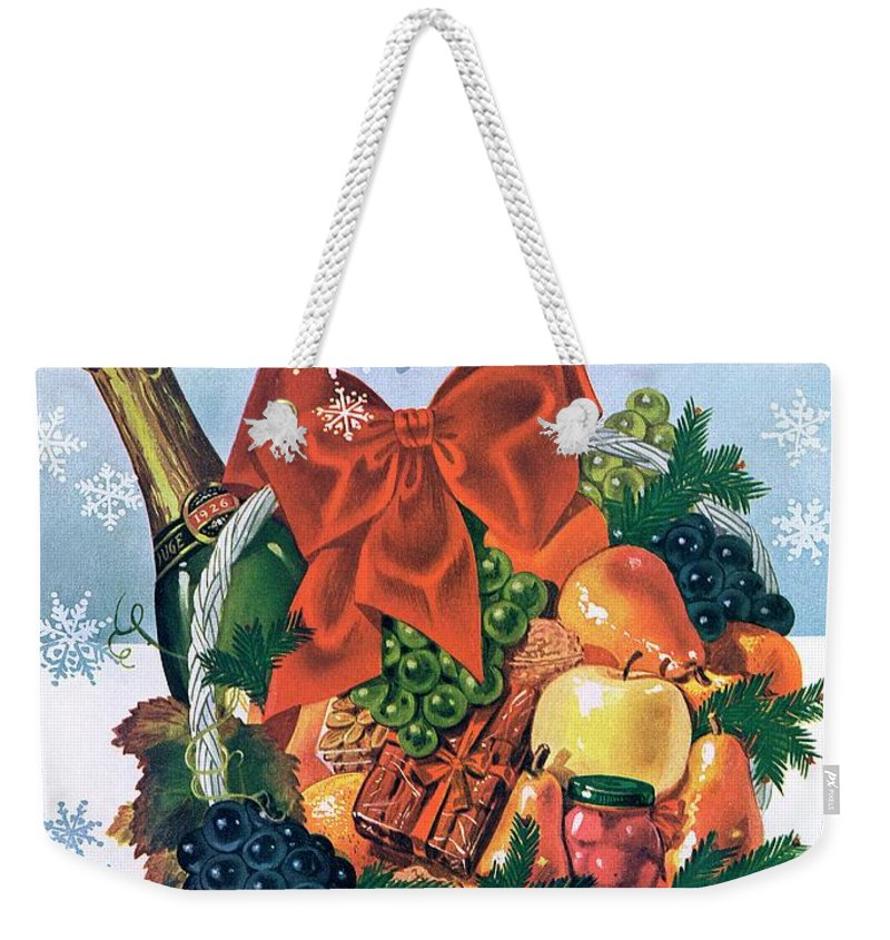 Food Weekender Tote Bag featuring the photograph Gourmet Cover Illustration Of Holiday Fruit Basket by Henry Stahlhut