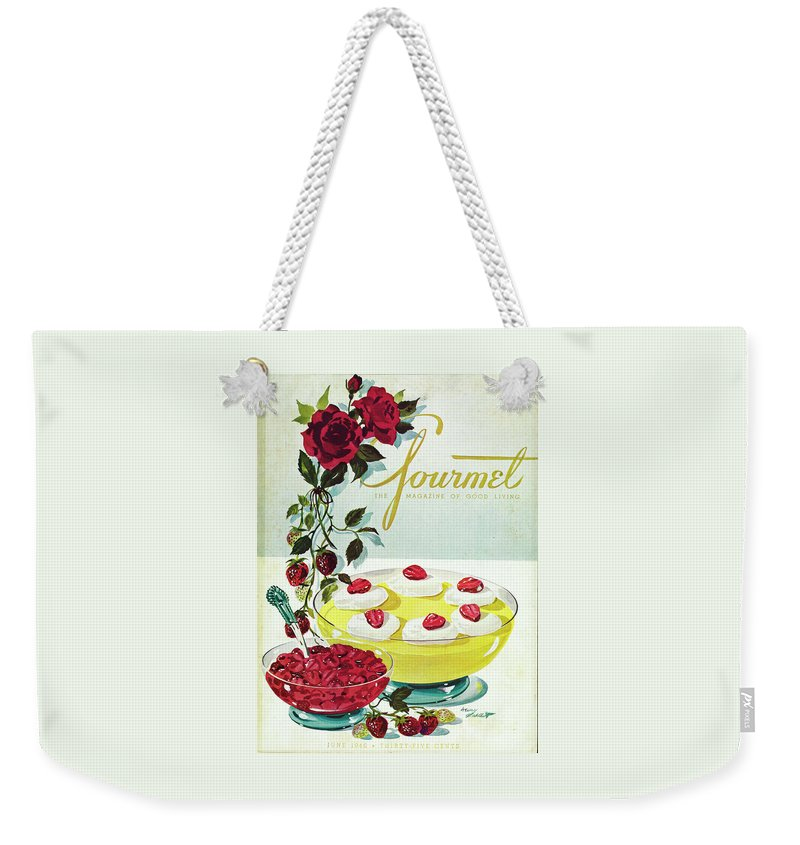 Food Weekender Tote Bag featuring the photograph Gourmet Cover Of A Bowl Of Custard by Henry Stahlhut