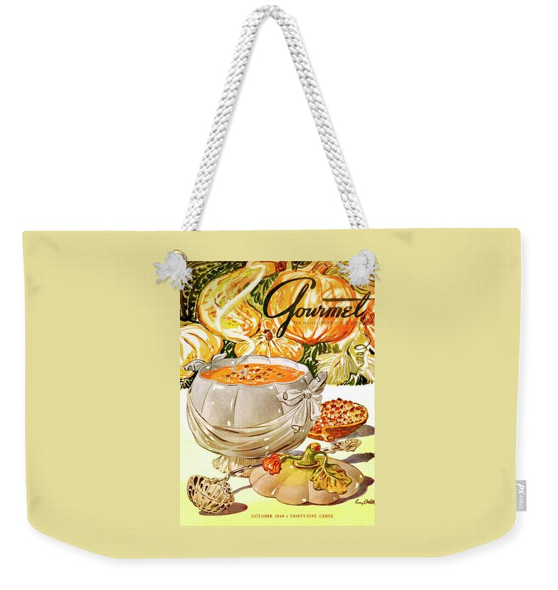 Food Weekender Tote Bag featuring the photograph Gourmet Cover Of Pumpkin Soup by Henry Stahlhut