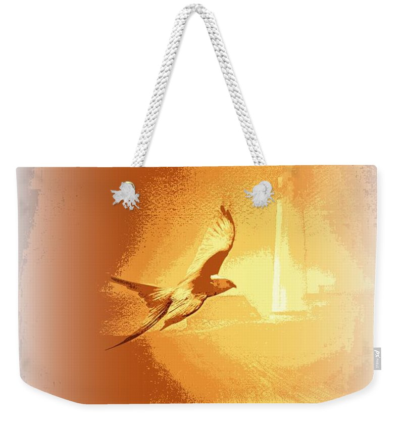 Light Weekender Tote Bag featuring the photograph Mississippi Kite - Beauty Into The Light by Travis Truelove