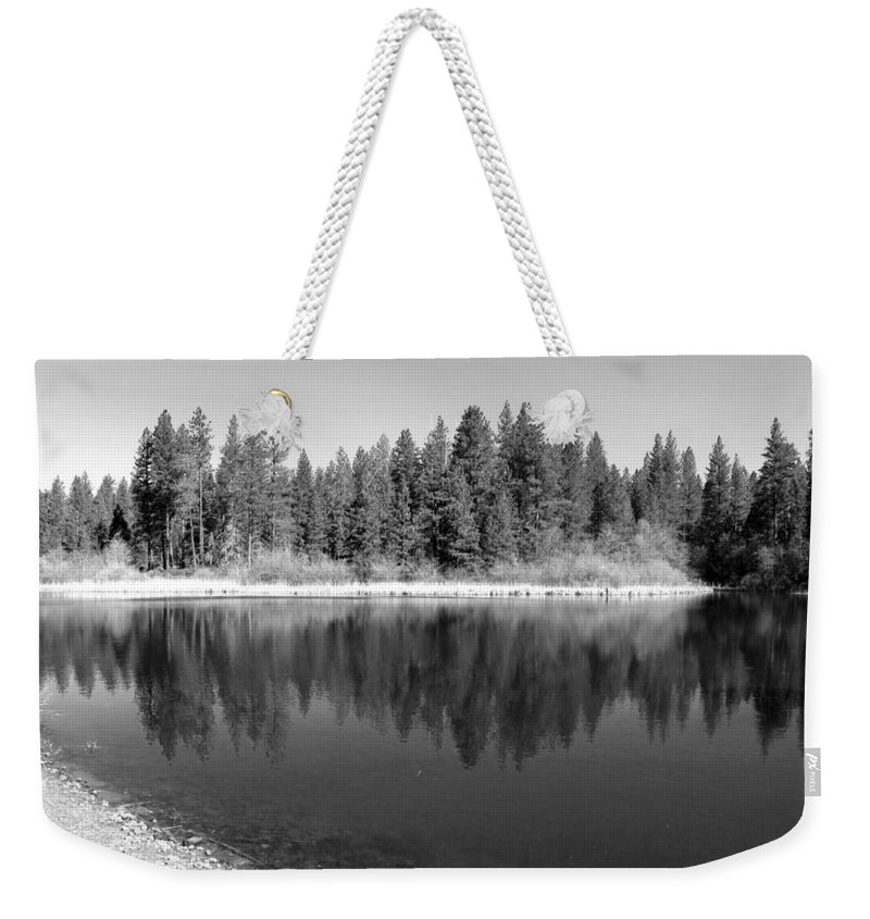Reflections Weekender Tote Bag featuring the photograph Grace Lake Reflections In Black And White by Joyce Dickens