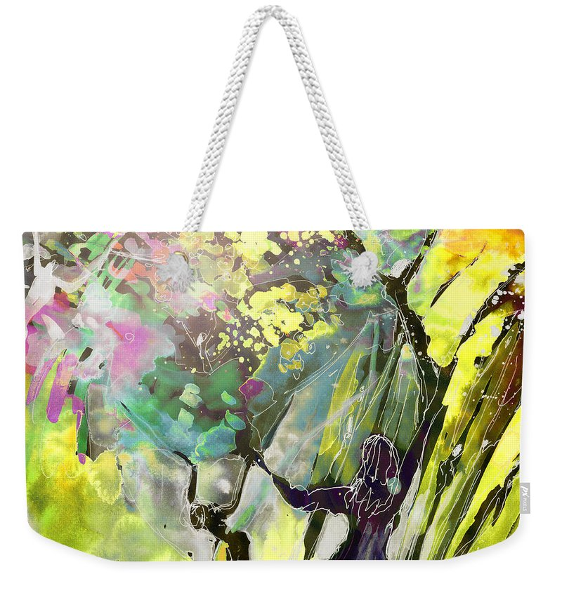 Fantasy Weekender Tote Bag featuring the painting Grace Under Pressure by Miki De Goodaboom