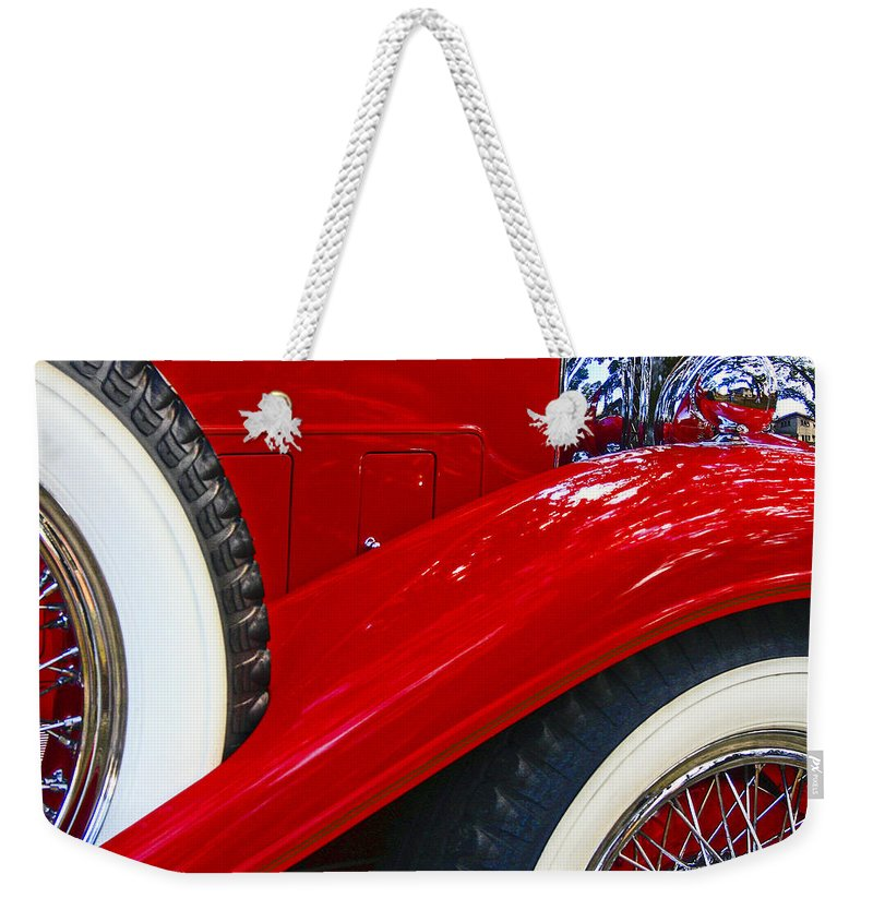Car Weekender Tote Bag featuring the photograph Graceful Lines. by Jean Noren