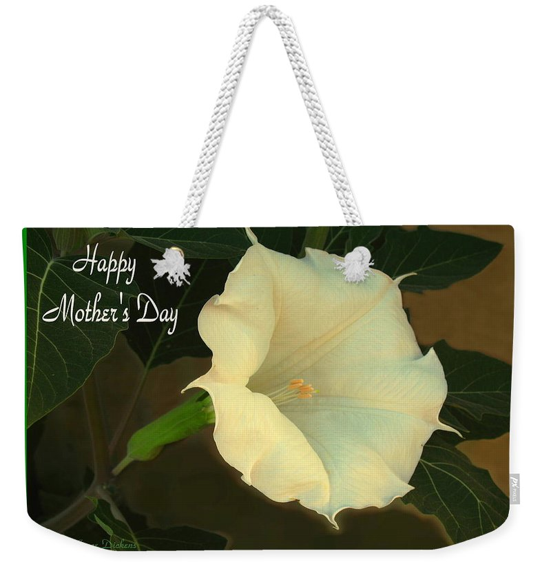 Moonflower Weekender Tote Bag featuring the photograph Graceful Moonflower - Happy Mother's Day by Joyce Dickens