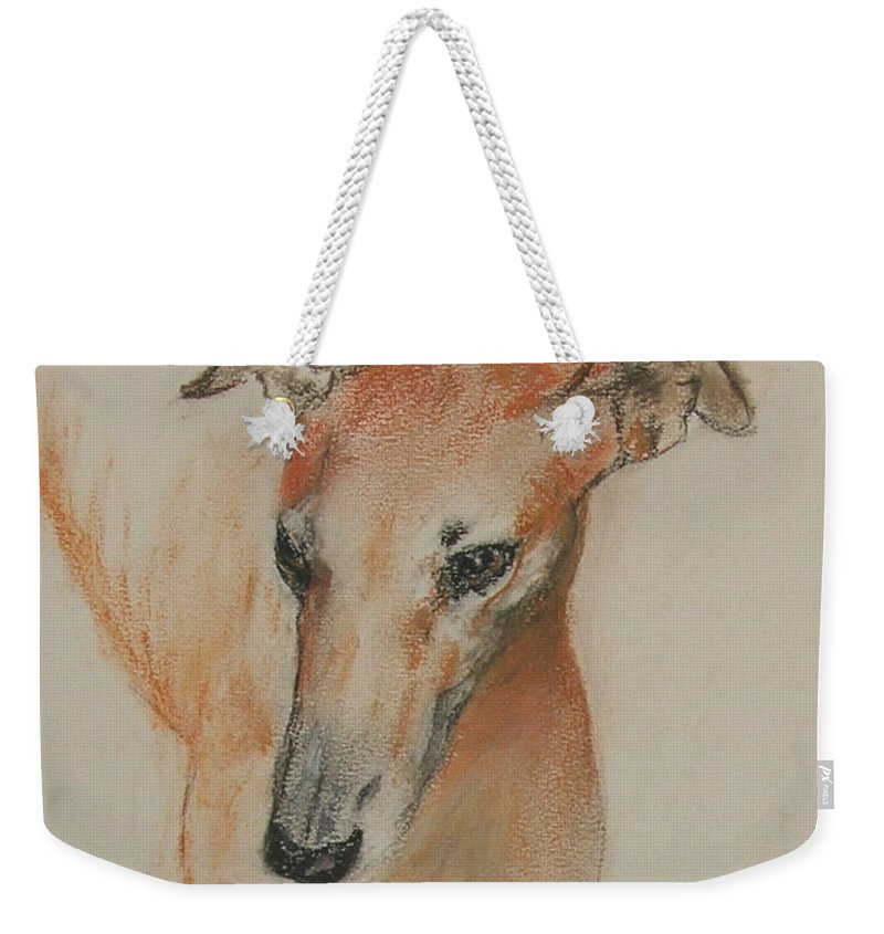 Greyhound Weekender Tote Bag featuring the drawing Graciously Greyhound by Cori Solomon