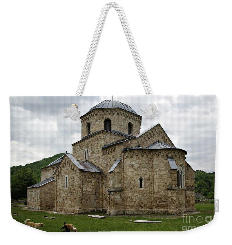 Ancient Weekender Tote Bag featuring the photograph Gradac Monastery by Zoran Berdjan