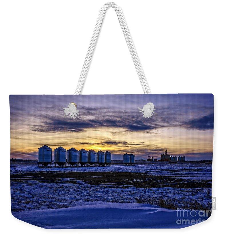 Grain Barns Weekender Tote Bag featuring the photograph Grain Barns by Viktor Birkus