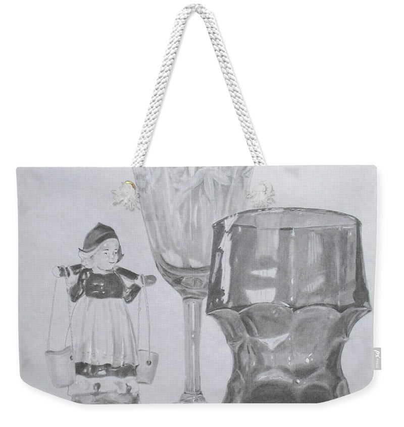 Glassware Weekender Tote Bag featuring the drawing Grammas Glasses by Mary Ellen Mueller Legault