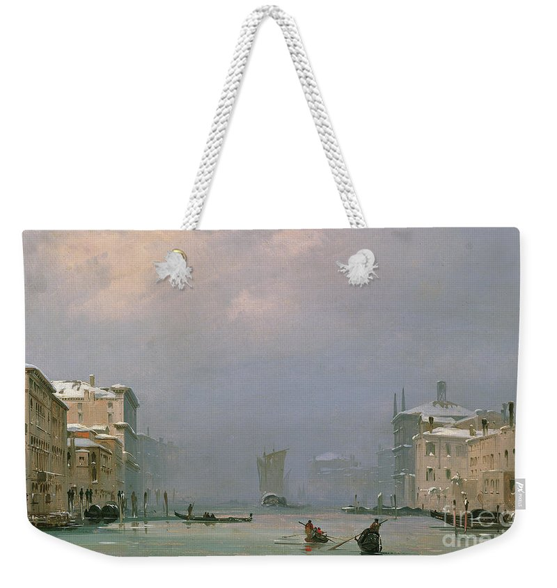 Winter Weekender Tote Bag featuring the painting Grand Canal With Snow And Ice by Ippolito Caffi
