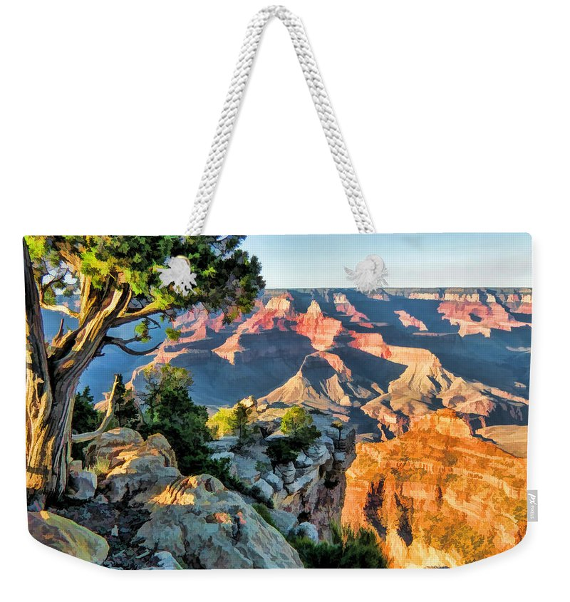Grand Canyon Weekender Tote Bag featuring the painting Grand Canyon Ledge by Christopher Arndt