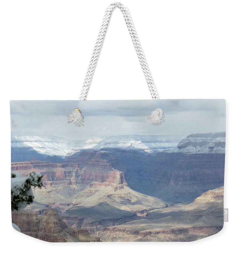 Grand Canyon Weekender Tote Bag featuring the photograph Grand Canyon Shadows And Snow by Laurel Powell