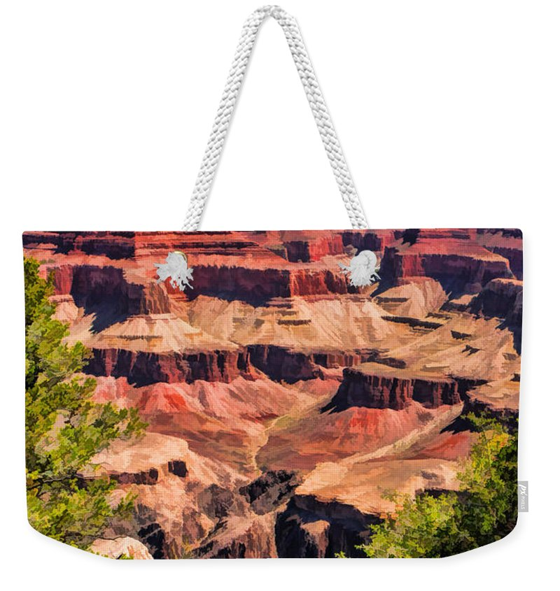 Grand Canyon Weekender Tote Bag featuring the painting Grand Canyon Valley by Christopher Arndt