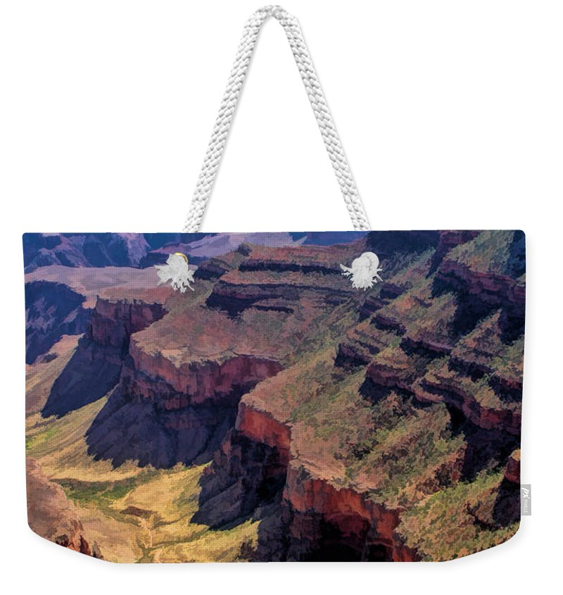 Grand Canyon Weekender Tote Bag featuring the painting Grand Canyon Valley Trail by Christopher Arndt