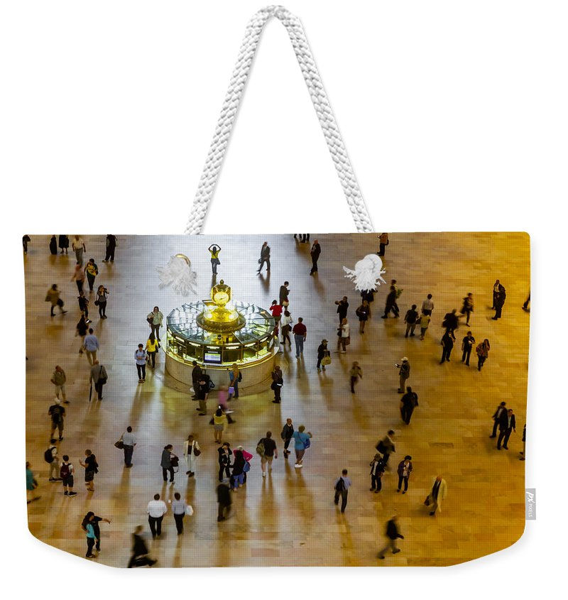 New York City Weekender Tote Bag featuring the photograph Grand Central Terminal Clock Birds Eye View by Susan Candelario
