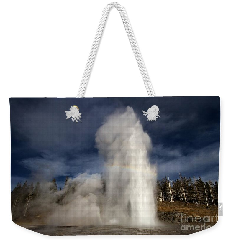Grand Geyser Weekender Tote Bag featuring the photograph Grand Finale by Adam Jewell