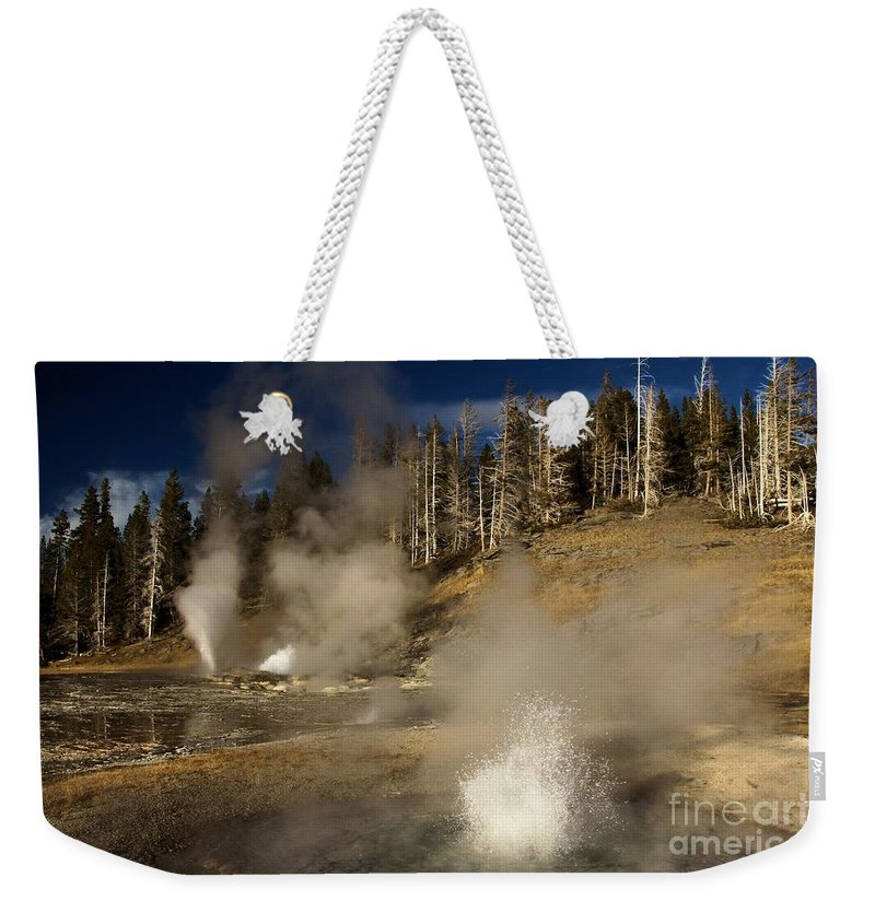 West Triplet Geyser Weekender Tote Bag featuring the photograph Grand Geyser Group by Adam Jewell