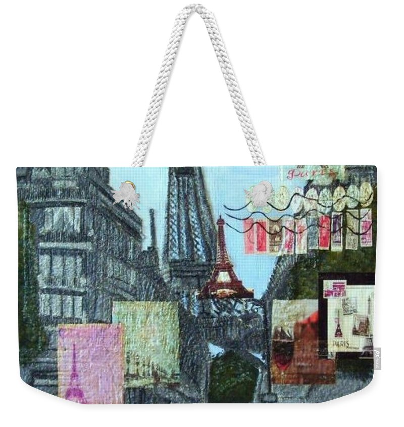 Mixed Media Weekender Tote Bag featuring the painting Grand Ole Paris-postcard From Paris by Leslye Miller
