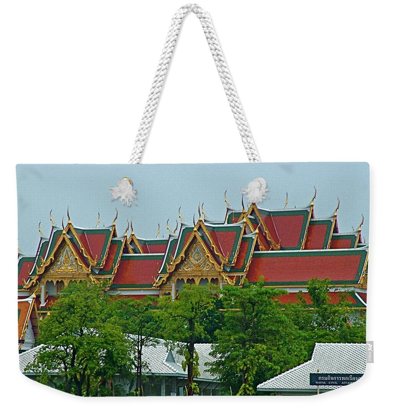 Grand Palace Of Thailand From Waterways Of Bankok Weekender Tote Bag featuring the photograph Grand Palace Of Thailand From Waterways Of Bangkok-thailand by Ruth Hager