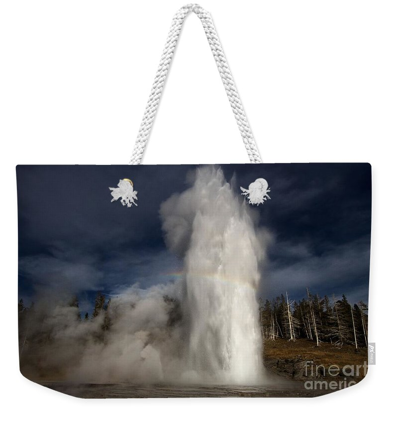 Grand Geyser Weekender Tote Bag featuring the photograph Grand Show by Adam Jewell