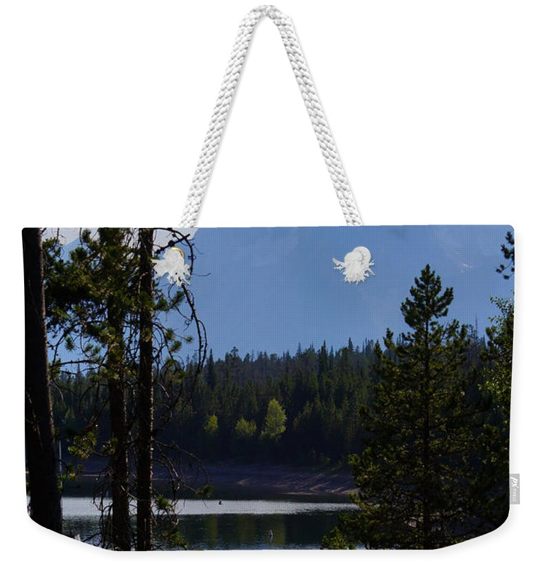 Bay Weekender Tote Bag featuring the photograph Grand Teton Framed By Cedars by Jennifer White