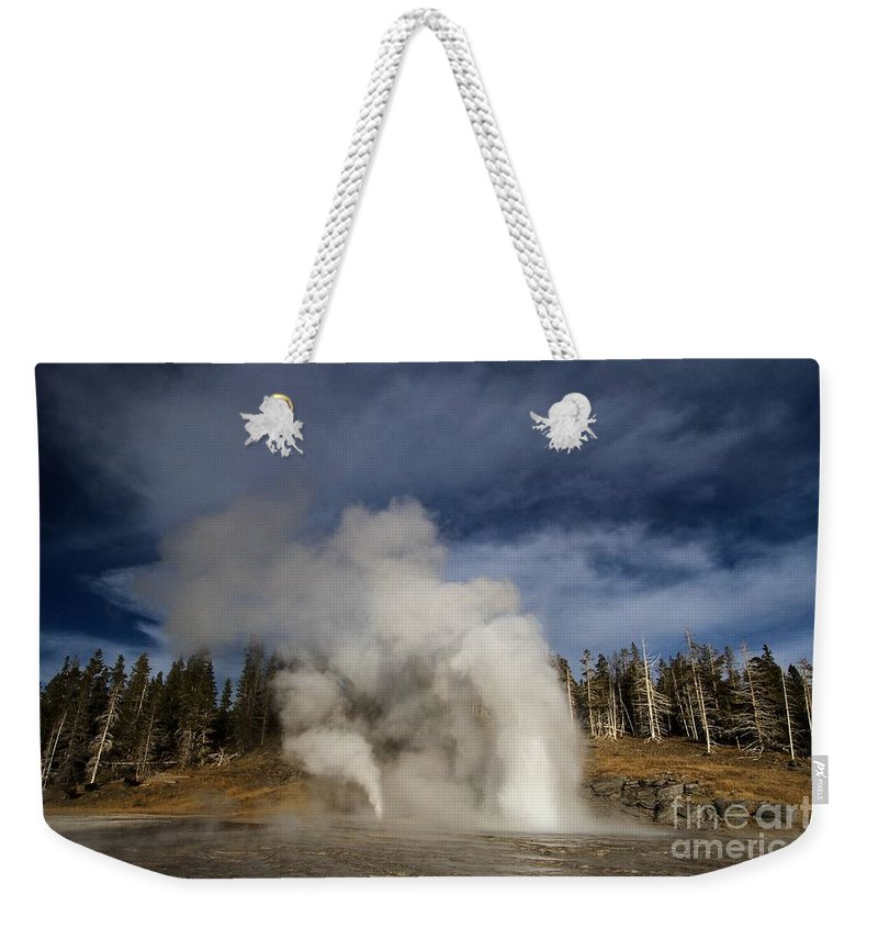 Vent Geyser Weekender Tote Bag featuring the photograph Grand Vent by Adam Jewell