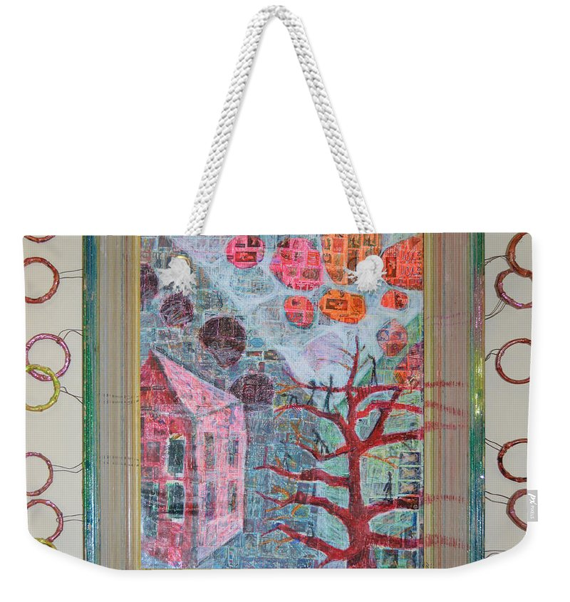 Abstract Modern Outsider Raw Tree House Red Clouds Floating Airy Building Weekender Tote Bag featuring the painting Grandma In A Tree - Framed by Nancy Mauerman
