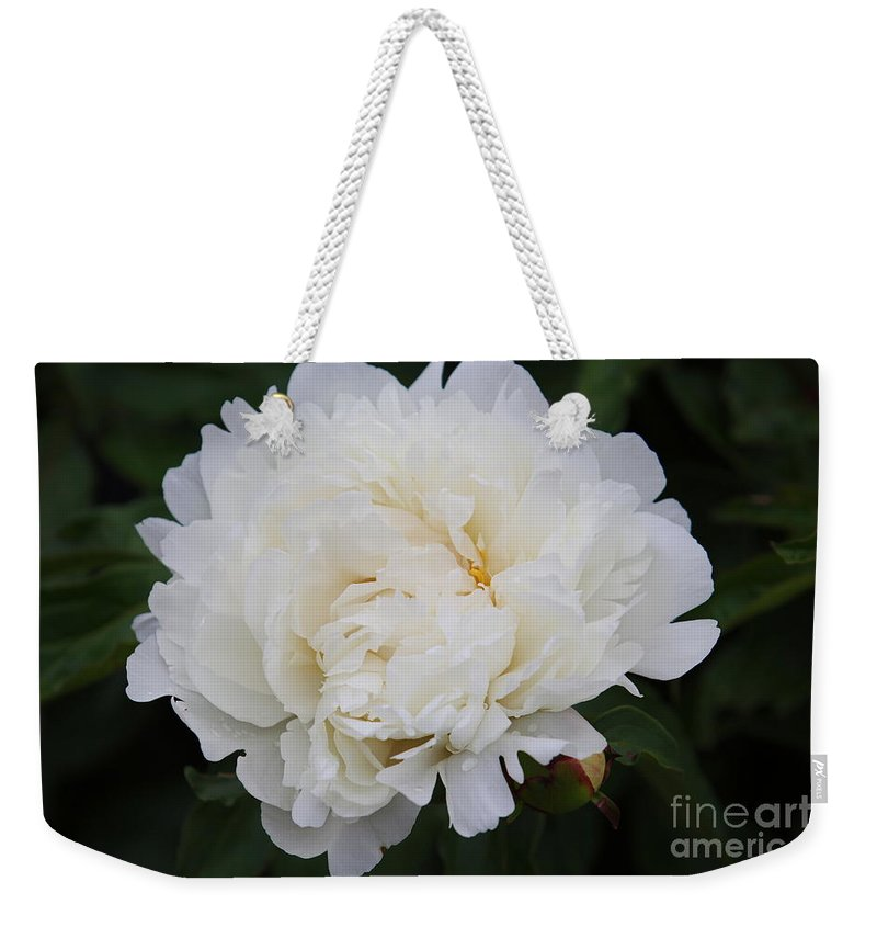 White Flower Weekender Tote Bag featuring the photograph Grandma's Peony by Elizabeth Winter