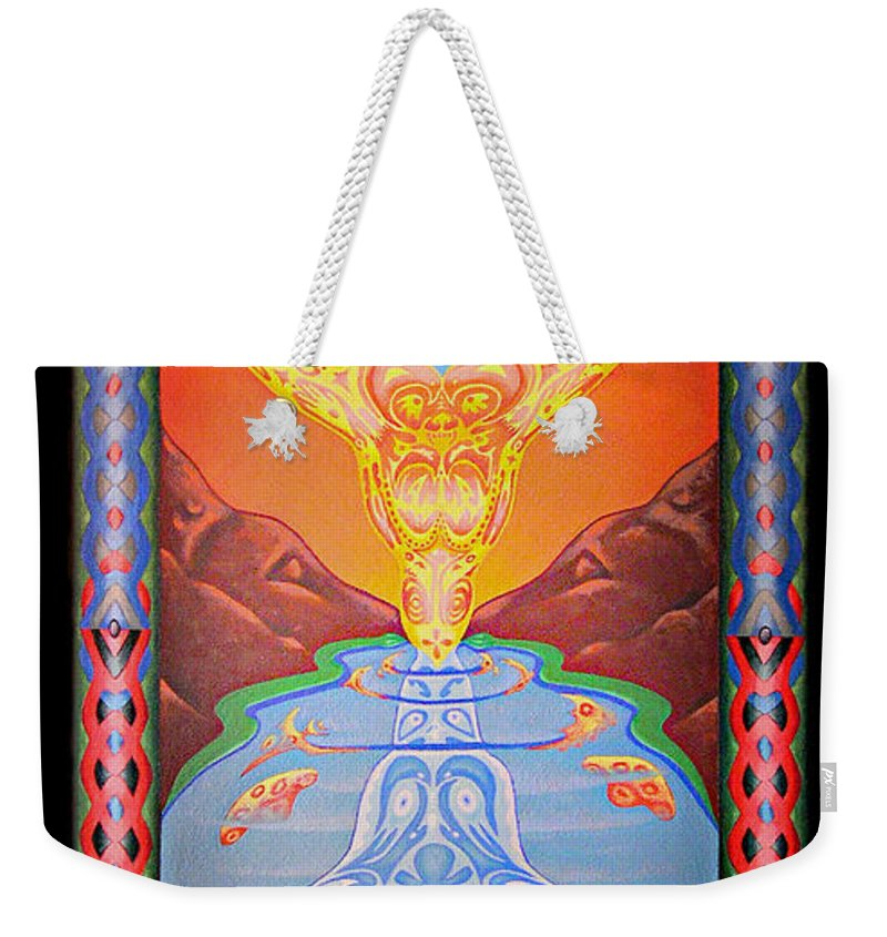 Native American Weekender Tote Bag featuring the painting Grandmother Grandfather by Kevin Chasing Wolf Hutchins