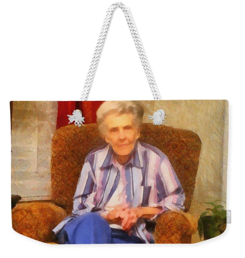 Chair Weekender Tote Bag featuring the painting Grandmother by Jeffrey Kolker
