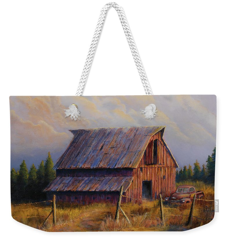 Barn Weekender Tote Bag featuring the painting Grandpas Truck by Jerry McElroy