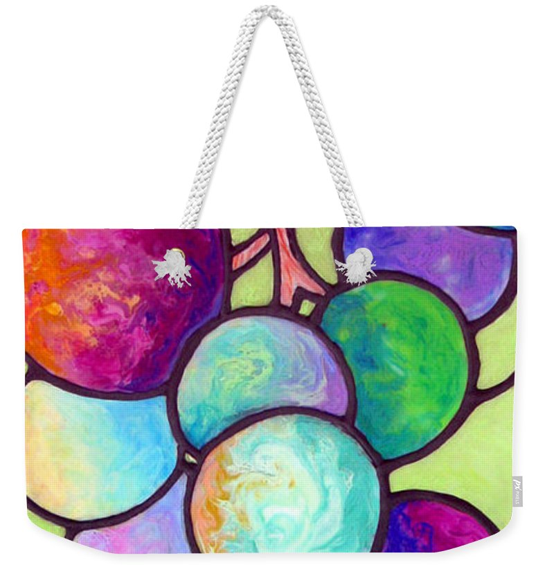 Stained Glass Weekender Tote Bag featuring the painting Grape De Chine by Sandi Whetzel