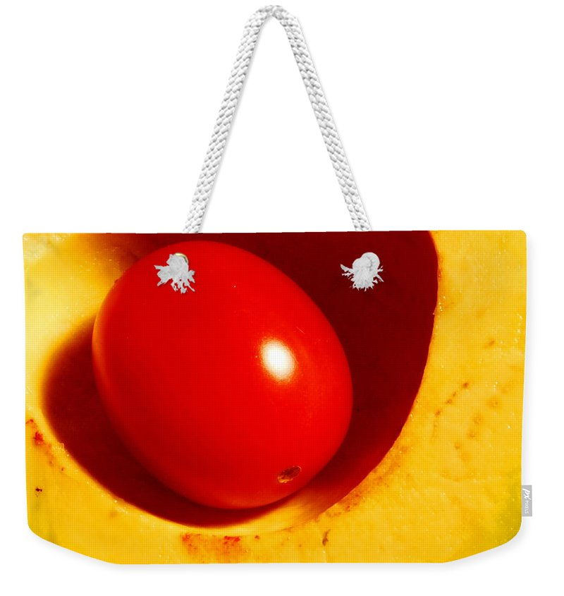 Food Weekender Tote Bag featuring the photograph Grape Tomato And Avocado by Nancy Mueller