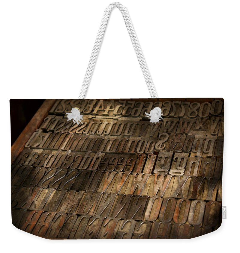 Printer Weekender Tote Bag featuring the photograph Graphic Artist - I'd Like To Buy A Vowel by Mike Savad
