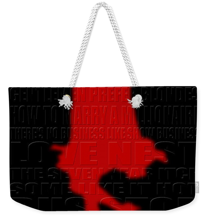 Marilyn Monroe Weekender Tote Bag featuring the photograph Graphic Marilyn 3 by Andrew Fare